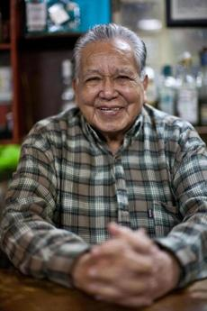 Javier Delgado, 89, invented the batanga: tequila, Coca-Cola, and lime in a highball glass with a salted rim.